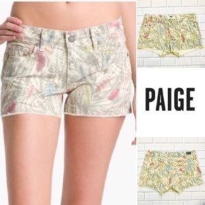 PAIGE Feather Patterned Raw Hem Jean Shorts Sz 28